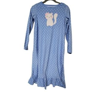 Carters Big Girls Blue Flannel Cat Nightgown
